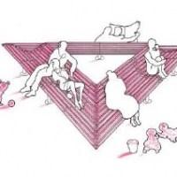Dal triangolo rosa a una panchina triangolare rosa